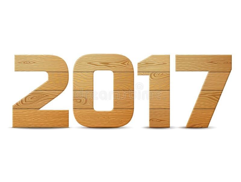 在白色背景2017年木头隔绝的新年 向量例证