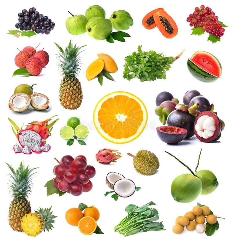 在白色背景水果和蔬菜隔绝大页  免版税库存照片
