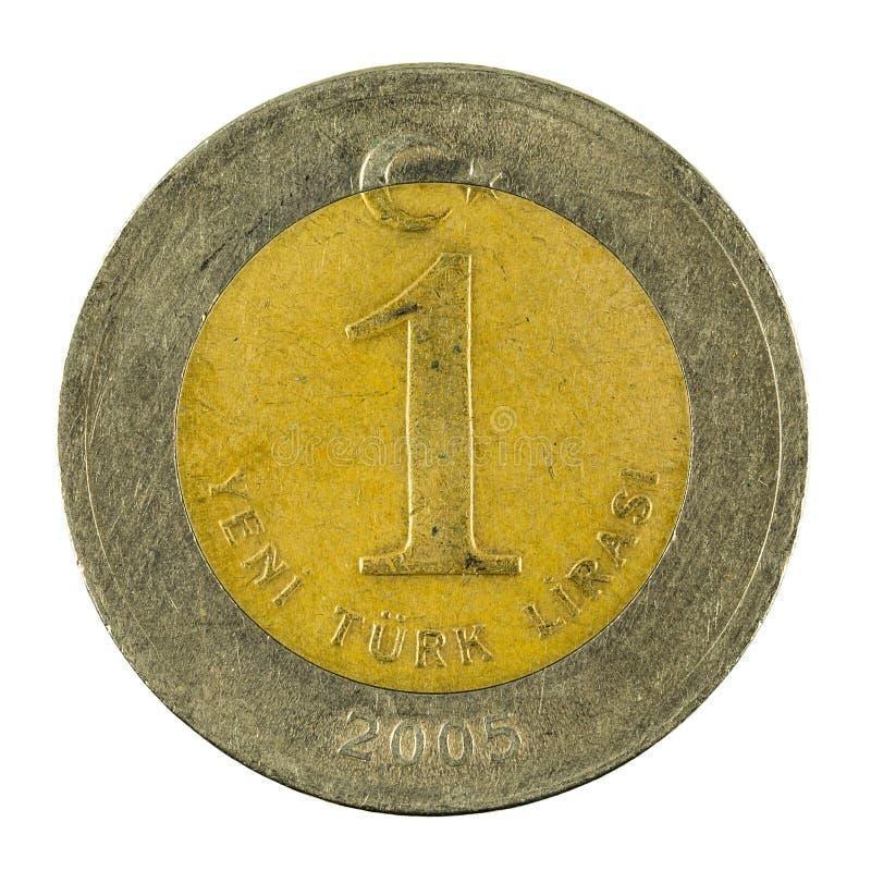 在白色背景2005隔绝的一枚土耳其新的里拉硬币 库存图片
