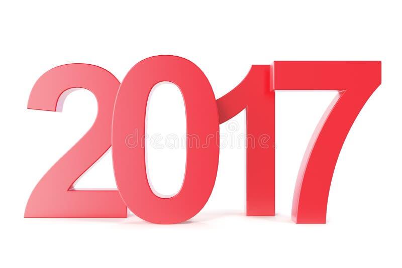 在白色背景2017隔绝的红色新年 3d翻译 皇族释放例证