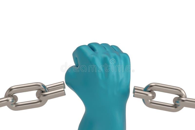 在白色背景3D例证和猛击的拳头隔绝的链子 库存例证