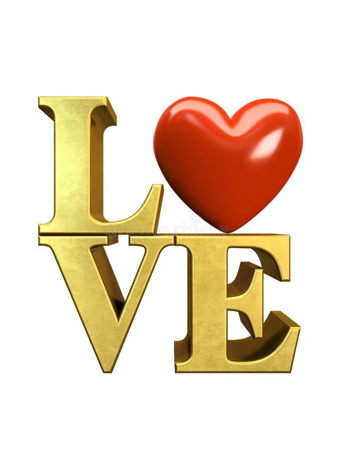 在白色背景例证在爱上写字隔绝的金子 库存例证