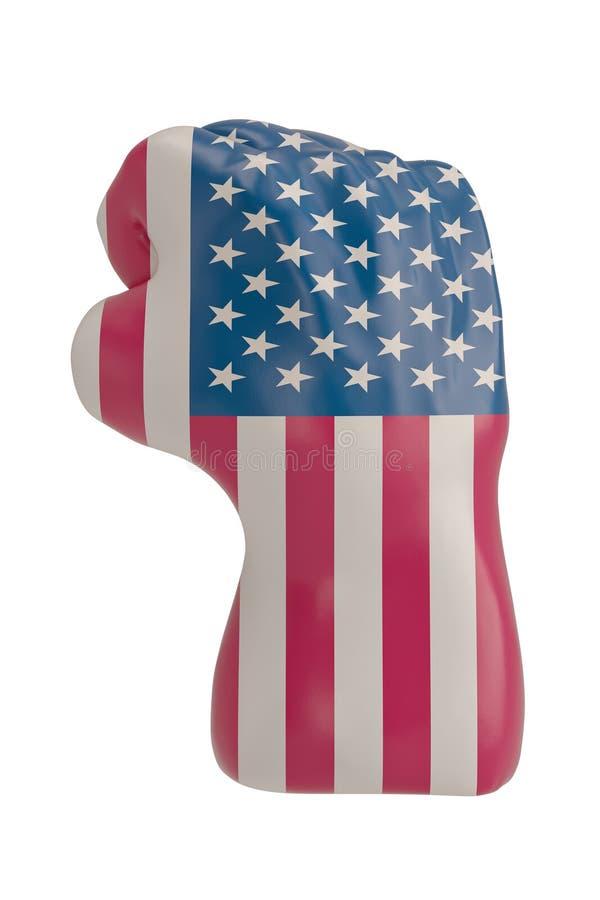 在白色背景3D例证隔绝的美国国旗猛击的拳头 库存例证