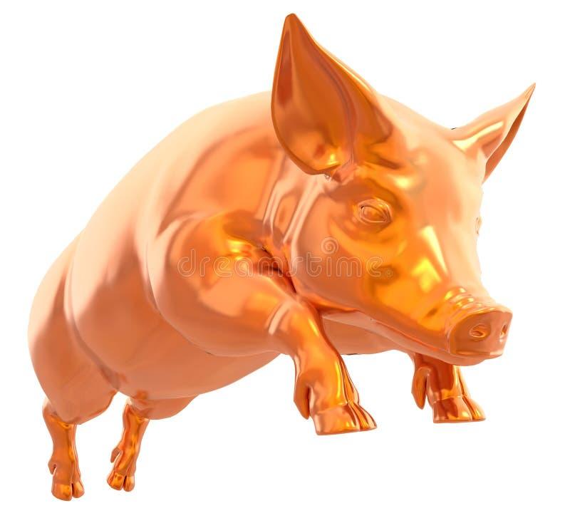 在白色背景3d例证隔绝的黄色金黄猪 皇族释放例证