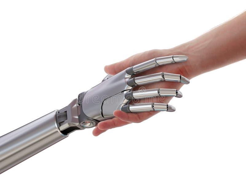 在白色背景3d例证隔绝的人和机器人握手 皇族释放例证