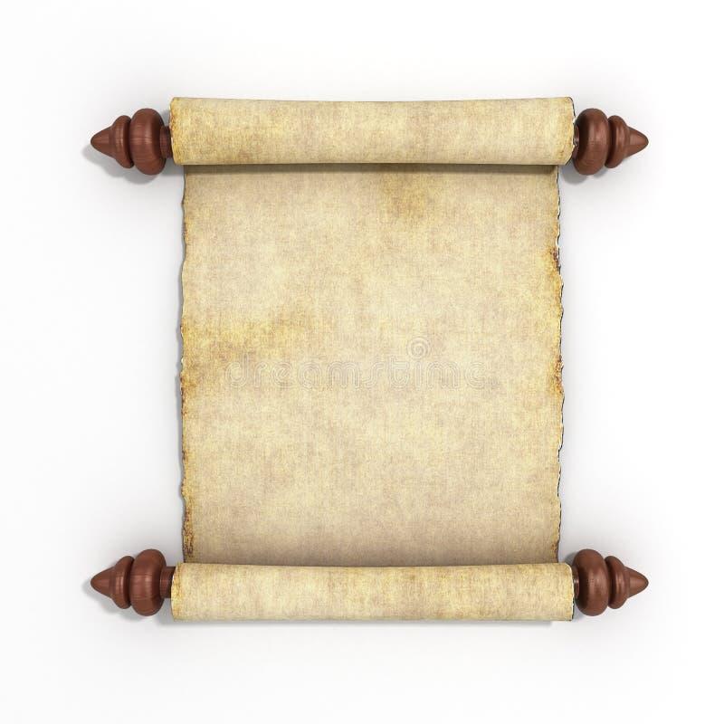 在白色背景3d的老纸莎草纸卷回报 向量例证