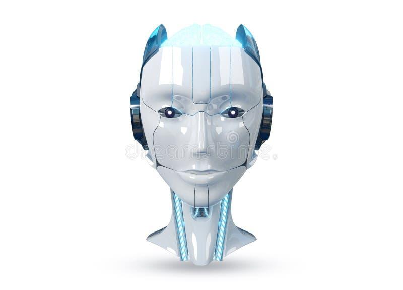 在白色背景3d翻译隔绝的白色和蓝色女性靠机械装置维持生命的人机器人头 库存例证