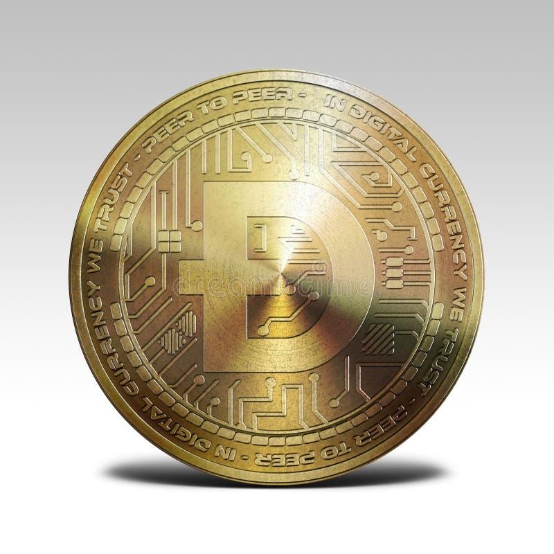 在白色背景3d翻译隔绝的金黄dogecoin硬币 免版税库存图片