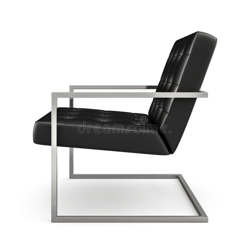 在白色背景3D翻译隔绝的黑现代扶手椅子 库存例证