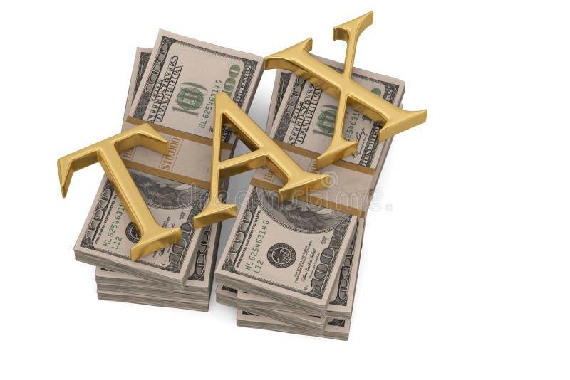 在白色背景3D illustratio和税隔绝的金钱堆 库存例证
