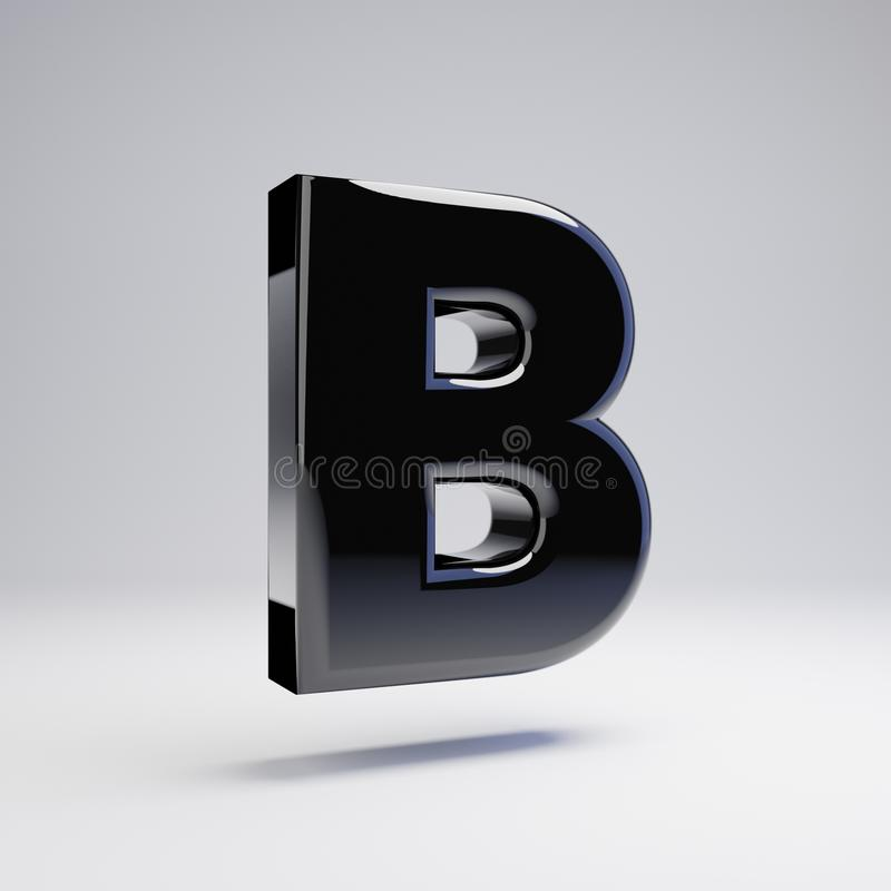 在白色背景B隔绝的容量光滑的黑大写字目 皇族释放例证