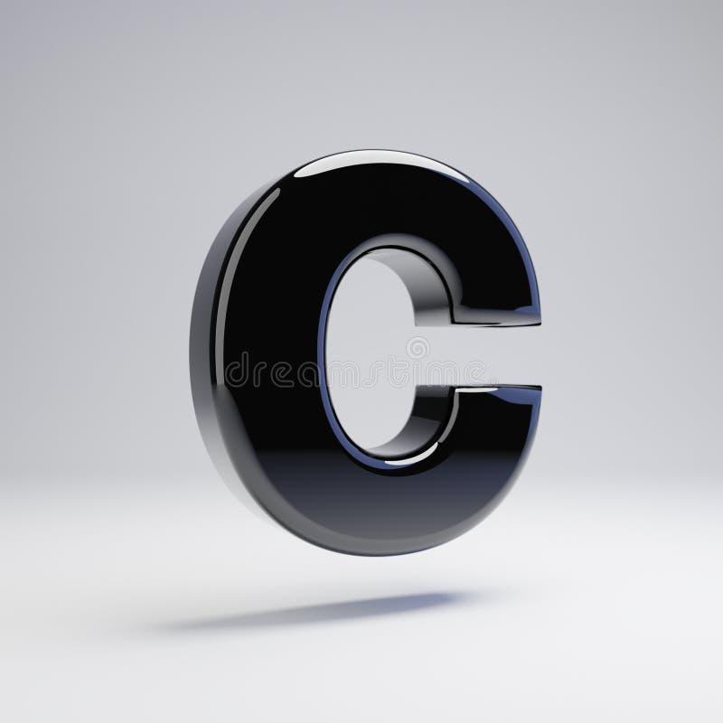 在白色背景C隔绝的容量光滑的黑大写字目 库存例证