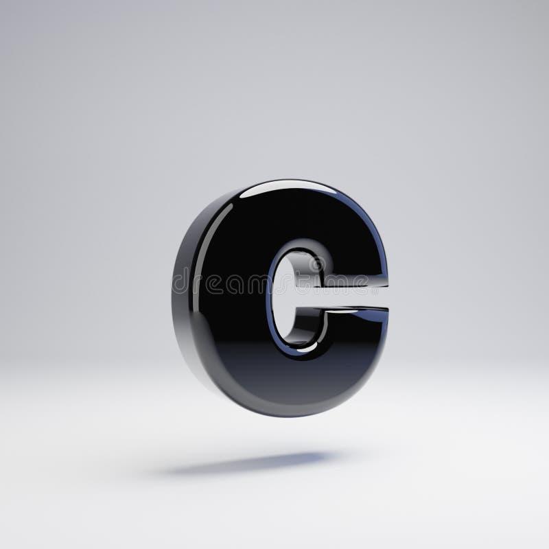 在白色背景C隔绝的容量光滑的黑小写字母 向量例证