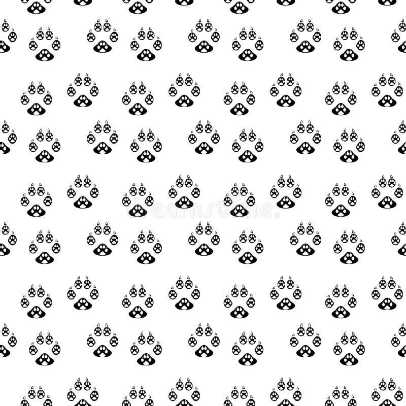 狗无缝爪子的印刷品 猫纺织品样式踪影  在白色背景的爪子无缝的样式 库存例证