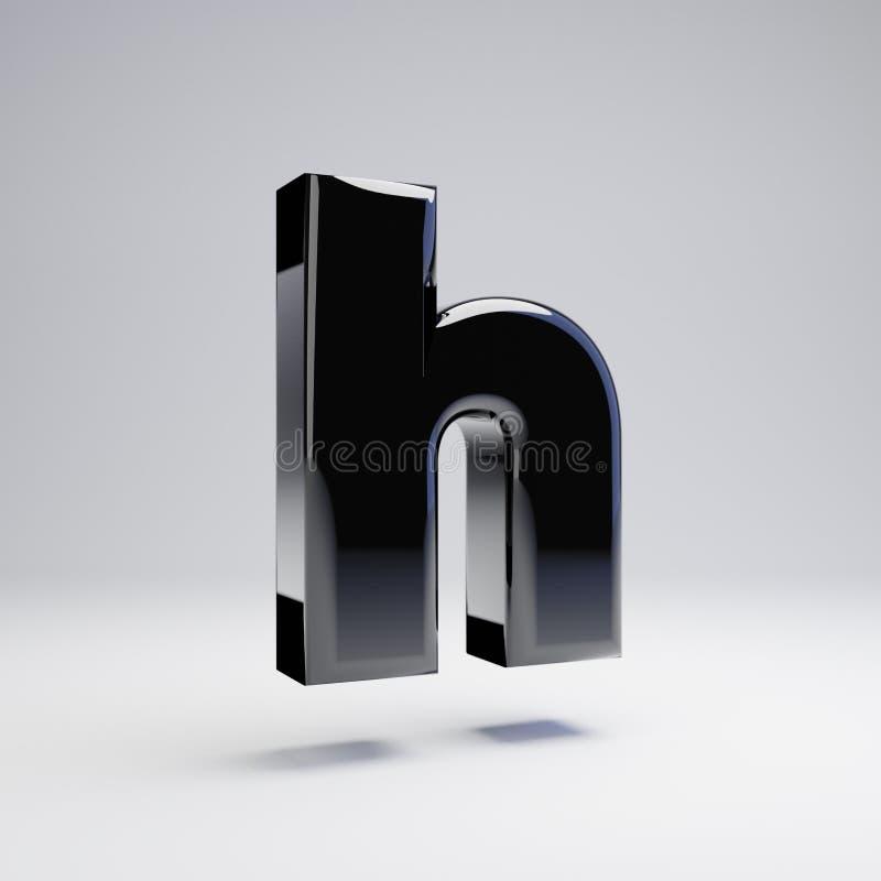 在白色背景H隔绝的容量光滑的黑小写字母 库存例证