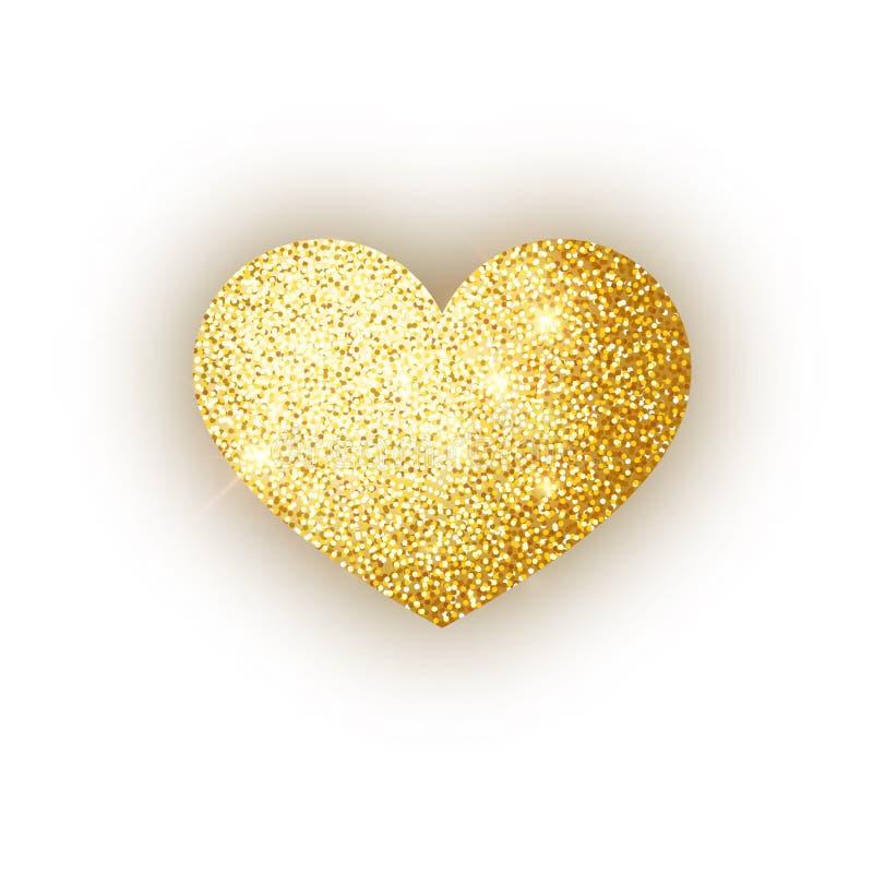 在白色背景isoleted的心脏金黄闪烁 金子闪耀心脏 情人节标志 爱构思设计 皇族释放例证
