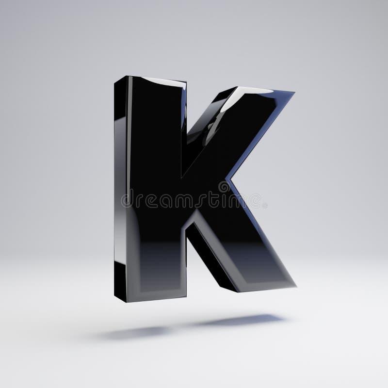 在白色背景K隔绝的容量光滑的黑大写字目 向量例证
