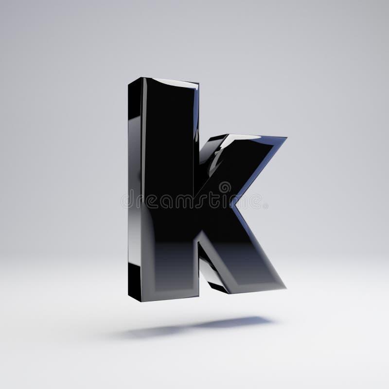 在白色背景K隔绝的容量光滑的黑小写字母 皇族释放例证