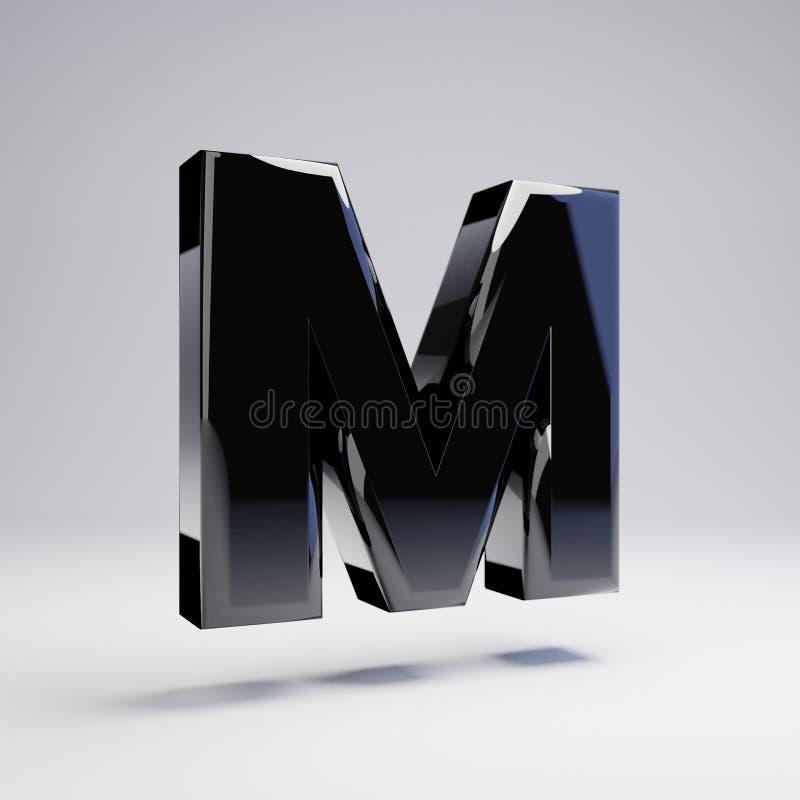 在白色背景M隔绝的容量光滑的黑大写字目 向量例证