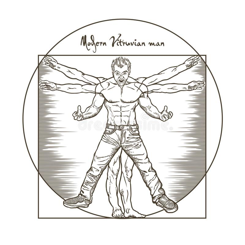 在白色背景mansolated的现代恼怒的Vitruvian 库存例证