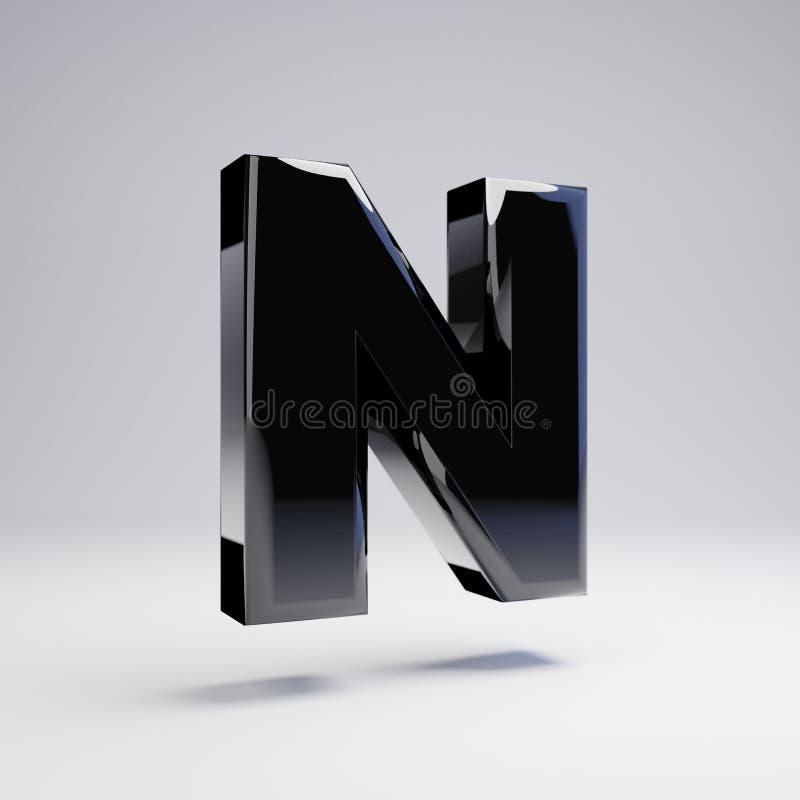 在白色背景N隔绝的容量光滑的黑大写字目 皇族释放例证