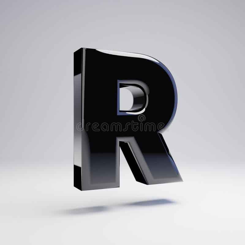 在白色背景R隔绝的容量光滑的黑大写字目 皇族释放例证