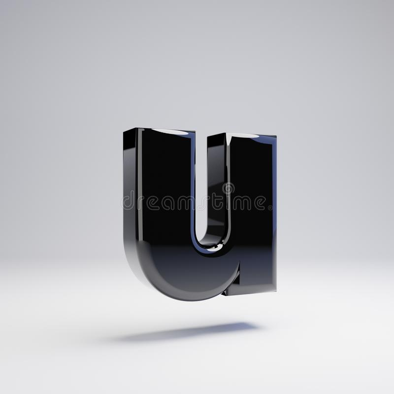 在白色背景U隔绝的容量光滑的黑小写字母 皇族释放例证