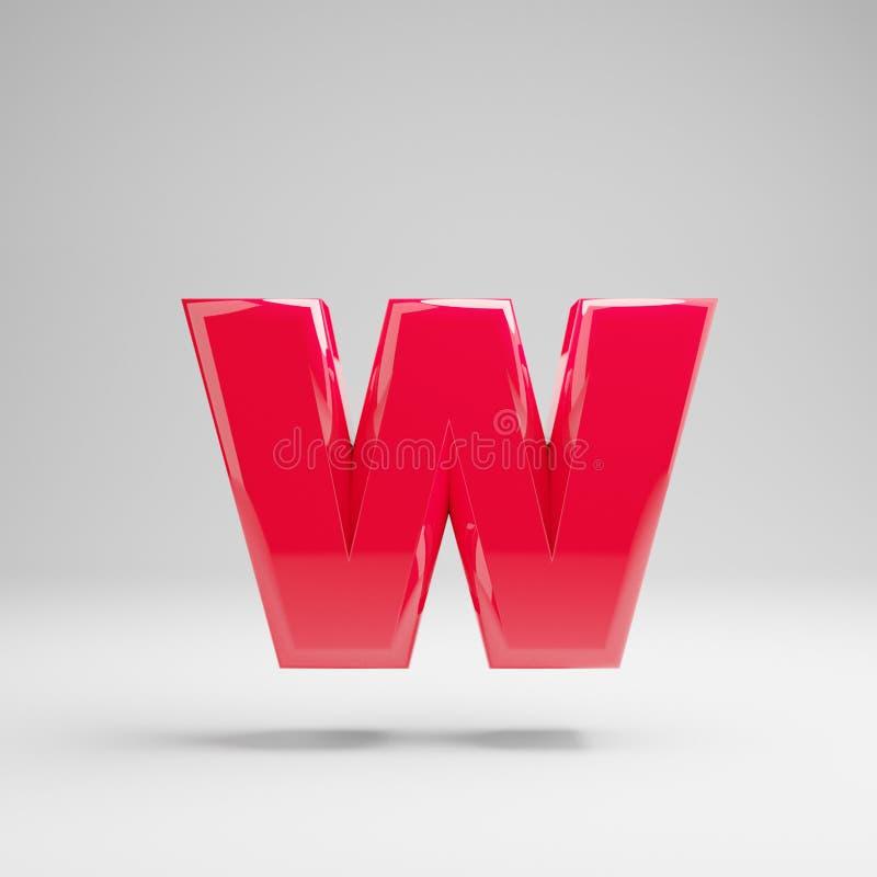 在白色背景W隔绝的光滑的霓虹桃红色小写字母 库存例证