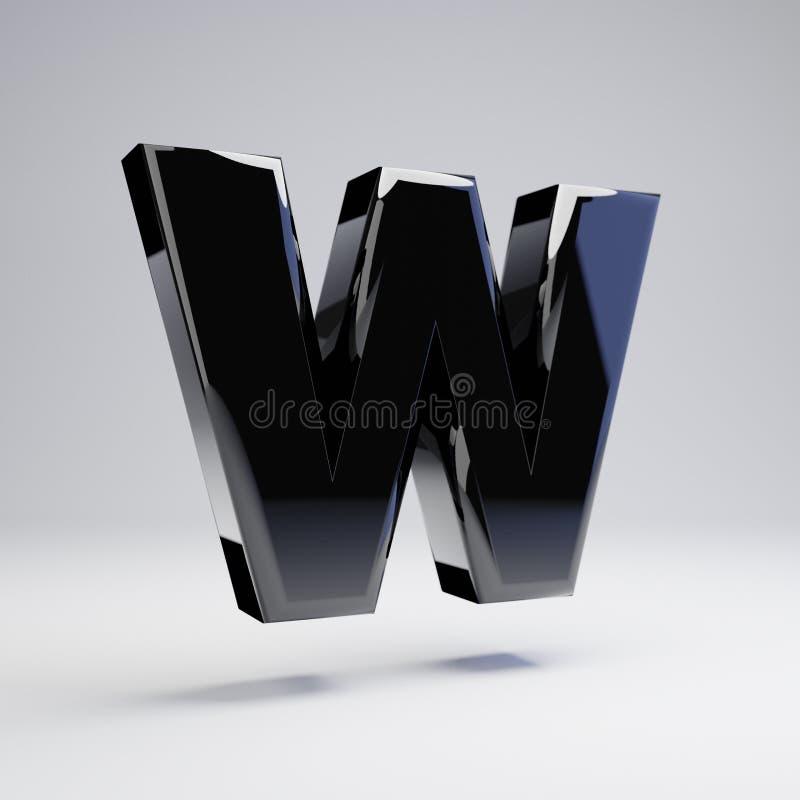 在白色背景W隔绝的容量光滑的黑大写字目 向量例证
