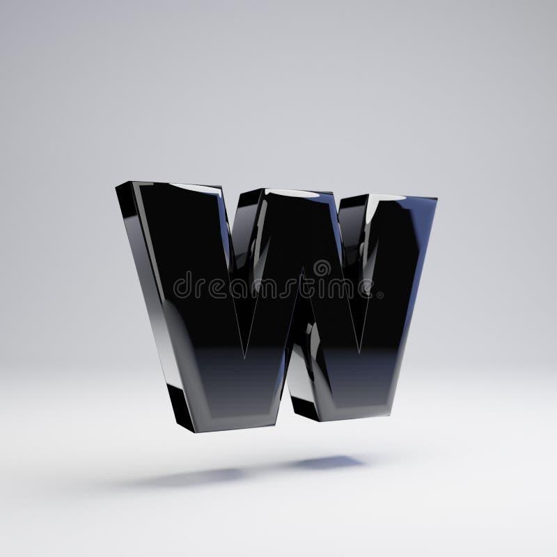 在白色背景W隔绝的容量光滑的黑小写字母 皇族释放例证
