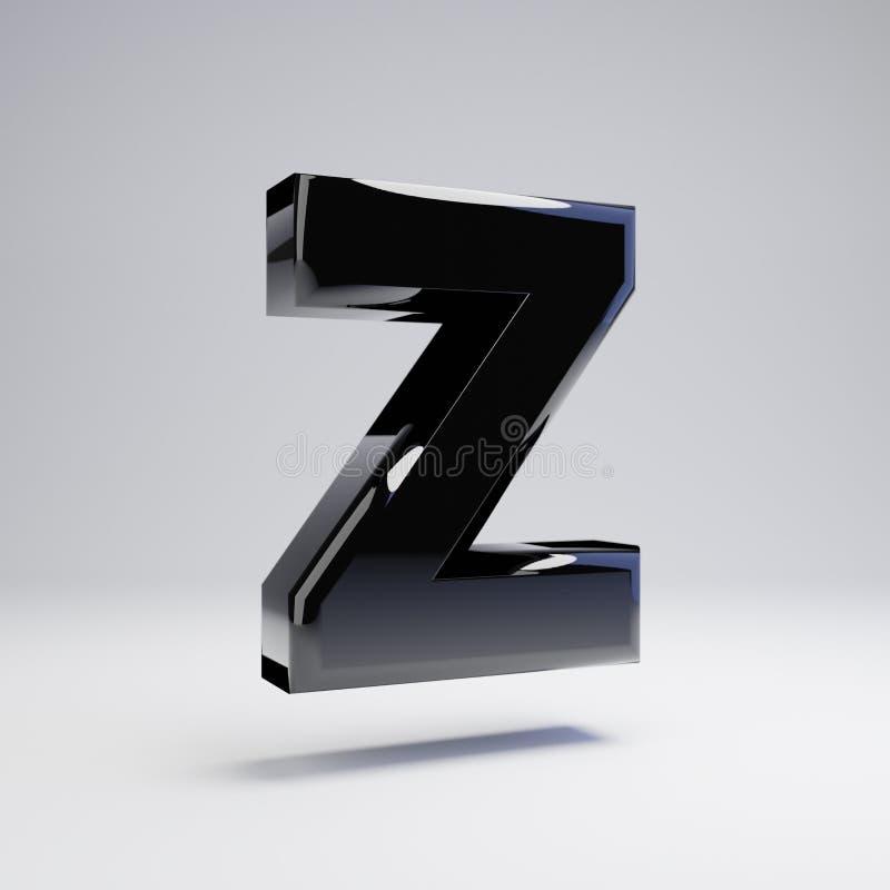 在白色背景Z隔绝的容量光滑的黑大写字目 库存例证