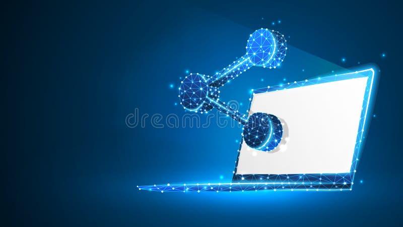 在白色膝上型计算机屏幕上的份额标志 事务连接,媒介,人通信概念 r 皇族释放例证