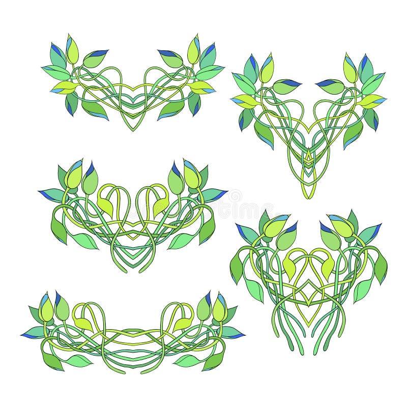 在白色花卉小插图隔绝的套 皇族释放例证