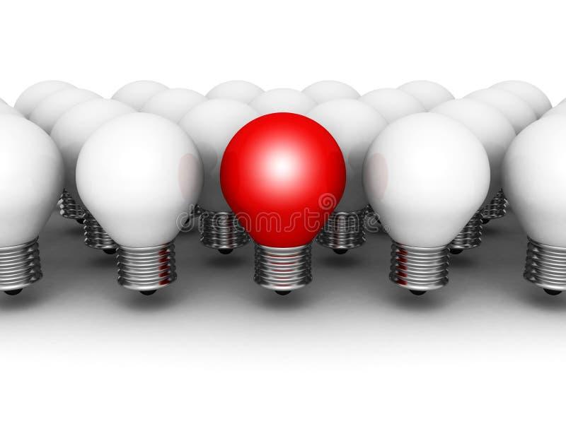 在白色行的一个不同红灯电灯泡一个 库存例证