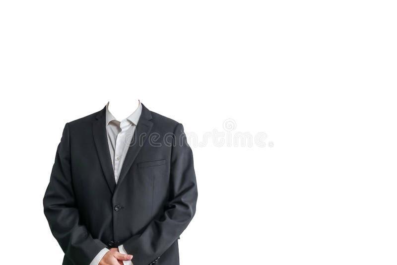 在白色衬衣和黑衣服的商人 被隔绝的模板 库存图片