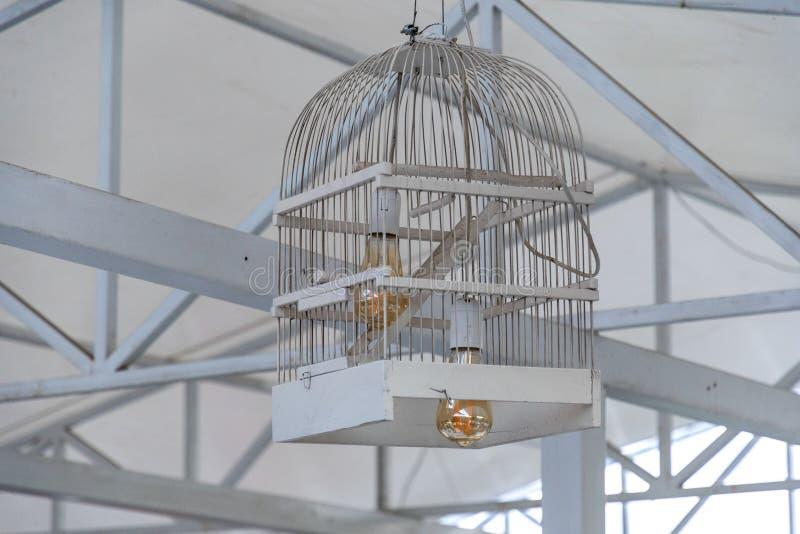 在白色被绘的木鸟笼做的灯罩里面的两个爱迪生电灯泡 鸟笼特写镜头被重复利用入天花板灯 免版税库存图片
