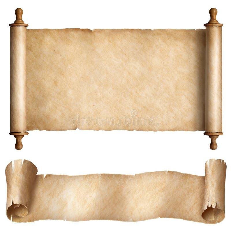 在白色被设置隔绝的纸或羊皮纸水平的纸卷 库存照片
