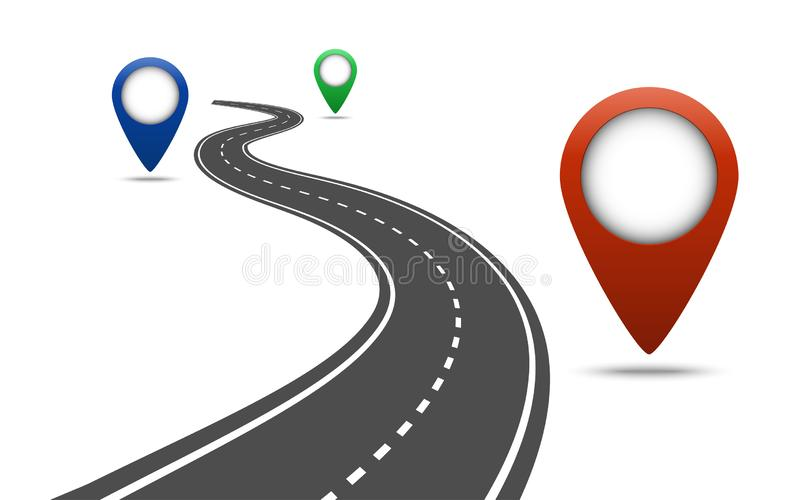 在白色被隔绝的背景的弯曲道路 与别针尖的方式地点infographic模板 向量例证