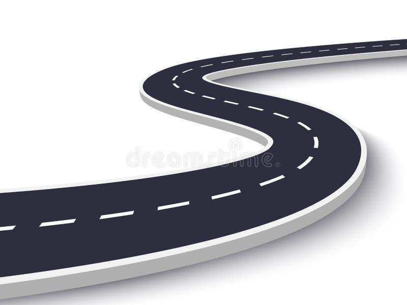 在白色被隔绝的背景的弯曲道路 路线地点infographic模板 10 eps 向量例证