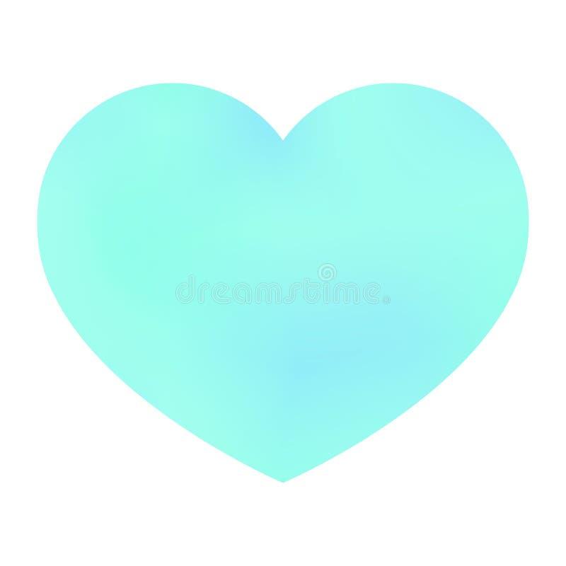 在白色被隔绝的背景的绿色淡色心脏 r 皇族释放例证