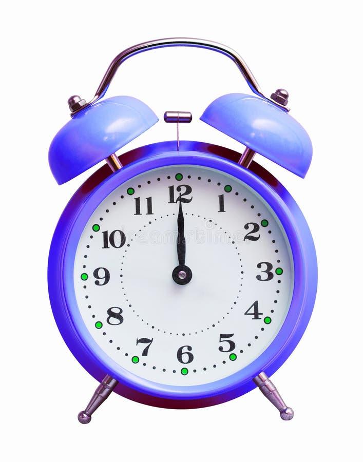 在白色被隔绝的背景的蓝色时钟,显示12个小时 新年来了 免版税库存图片