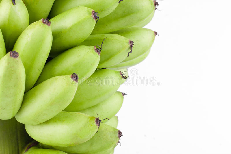 在白色被隔绝的背景健康Pisang Mas香蕉果子食物的未加工的金黄香蕉 免版税库存图片