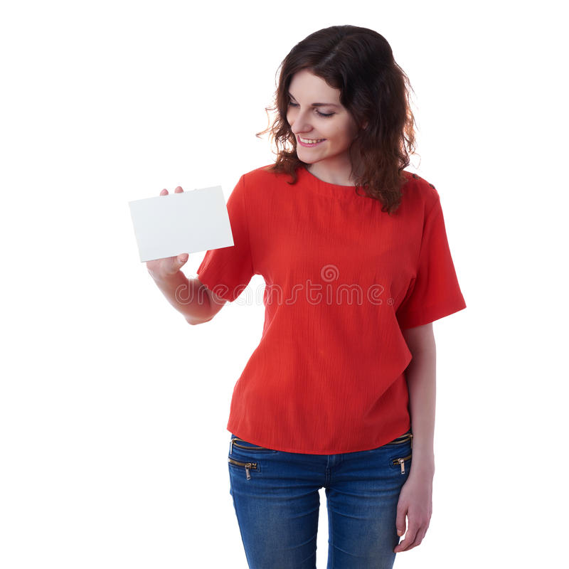 在白色被隔绝的背景的微笑的少妇 免版税图库摄影