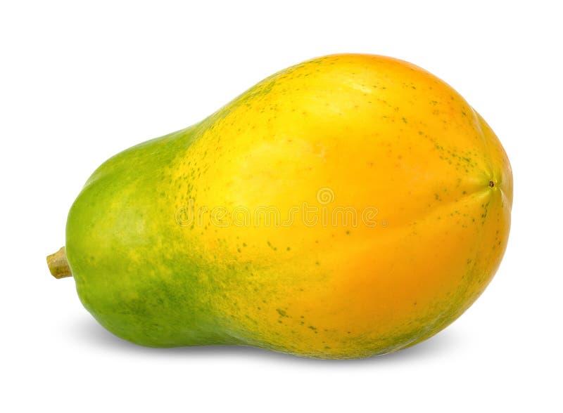 在白色裁减路线隔绝的成熟番木瓜 图库摄影