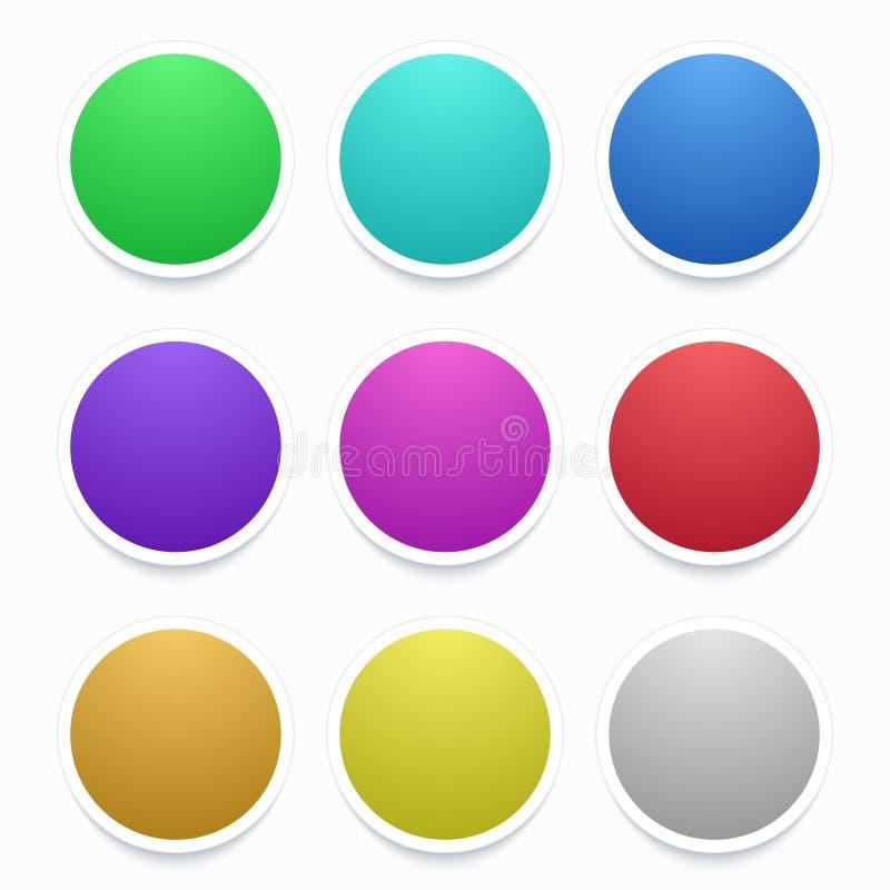 在白色设置的传染媒介五颜六色的圈子贴纸 皇族释放例证