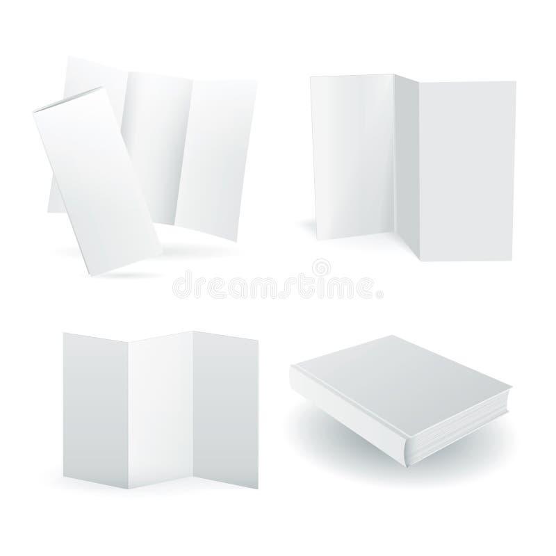 在白色设置的空白的传染媒介纸大模型 皇族释放例证