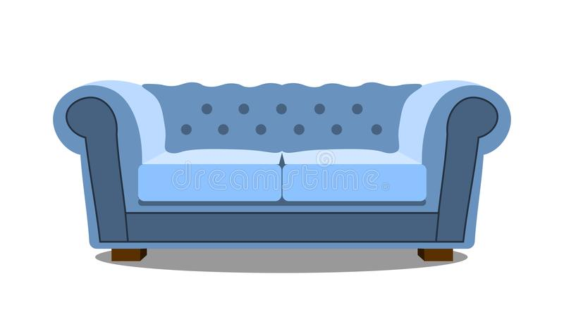 在白色象现实现代舒适的沙发的蓝色沙发 平的设计传染媒介例证 向量例证