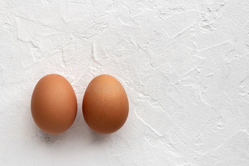 在白色质地背景的两个新鲜的鸡蛋与蛋的阴影 库存图片