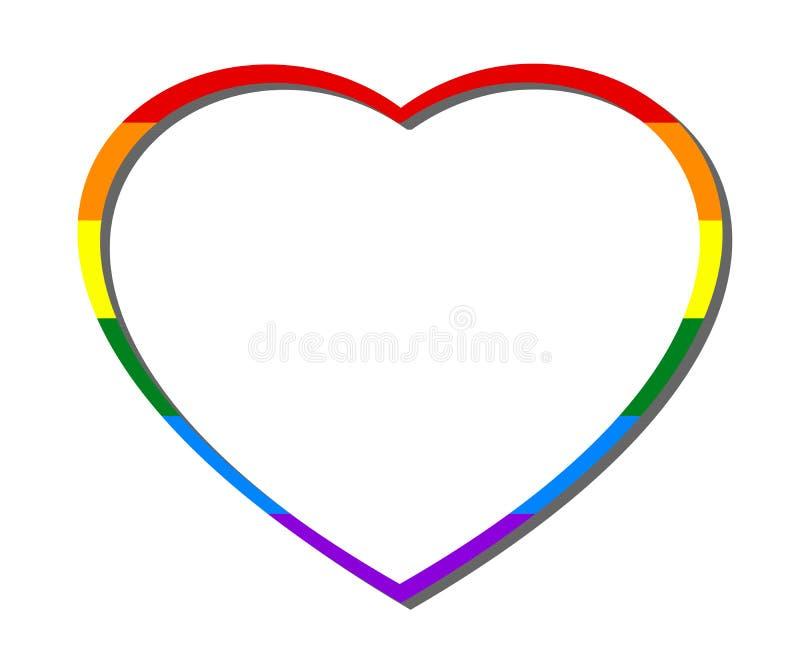 在白色透明背景隔绝的五颜六色的彩虹心脏框架 爱、LGBT、婚礼、华伦泰等等的概念 库存例证