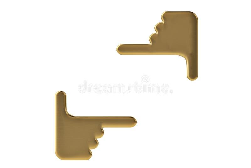 在白色递做庄稼标志隔绝的金子 3d illustrati 皇族释放例证
